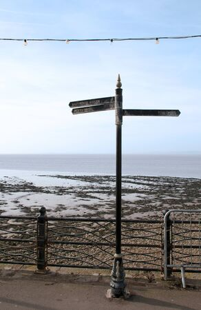 A sign post on Clevedons seafront promenade