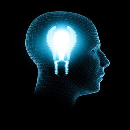 head light: a bright idea, 3d render bulb inside wireframe head