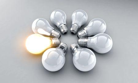 light bulbs: Bombillas en un anillo. Un iluminado. Foto de archivo