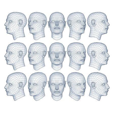 poligonos: hombres en el modelo de alambre