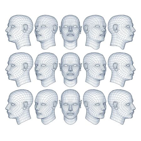 mesh background: male head model in wireframe