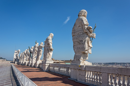 Statues (11 apostles) on the roof of St. Peter's Basilica,(san pietro plaza) Vatican