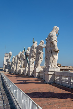 Statues (11 apostles) on the roof of St. Peter's Basilica,(san pietro plaza) Vatican Stock Photo