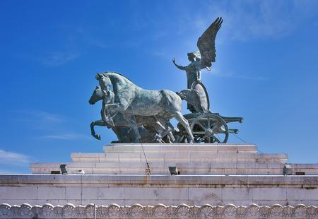 Sculpture Goddess Victoria riding on quadriga,  Roof of Altar of the Fatherland ( Altare della Patria ).Il Vittoriano.Rome.Italy.Europe