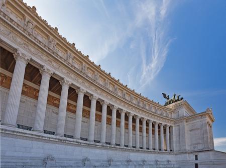 The Vittorio Emanuele II Monument also known as the Vittoriano, or Altare della Patria, built between the Piazza Venezia (The Venice Square) and the Capitoline Hill- the central hub of Rome . 版權商用圖片