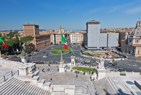 The Vittorio Emanuele II Monument also known as the Vittoriano, or Altare della Patria, built between the Piazza Venezia (The Venice Square) and the Capitoline Hill- the central hub of Rome . Stockfoto