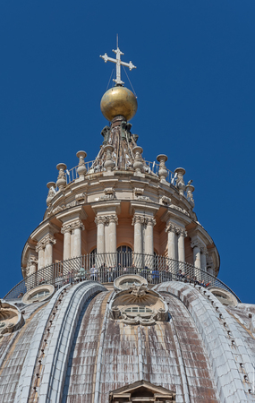 ROME, ITALY - Close up of the Dome (cupola) of The Papal Basilica of St. Peter (San Pietro) in Vatican City Rome, designed by Michelangelo . It is the tallest dome in the world.