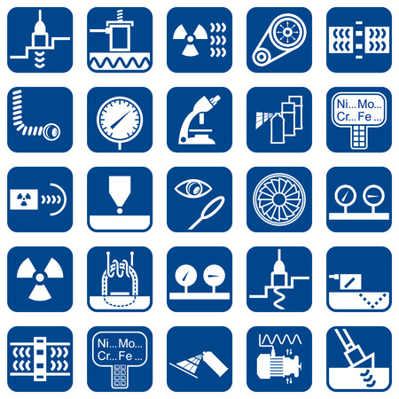 Set of vector monochrome flat design icons of nondestructive testing methods and techniques