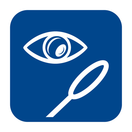 Vector monochrome flat design icon of magnifying glass.  Blue isolated eye and loupe symbol. Çizim