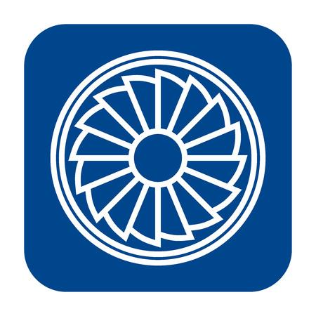 Icono de diseño plano monocromo de vector de hélice. Símbolo de turbina de avión aislado azul. Ilustración de vector