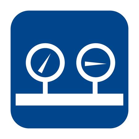 Icono de diseño plano monocromo de vector de manómetro. Logotipo azul aislado.