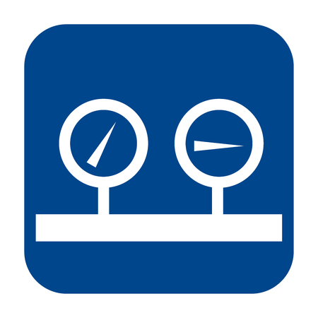 Vector monochrome flat design icon of manometer. Blue isolated logo.