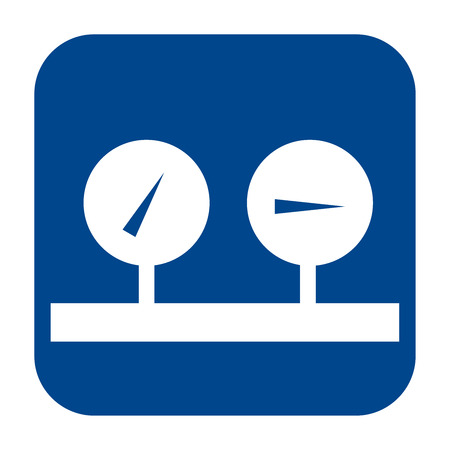 Vector monochrome flat design icon of manometer.  Blue isolated logo. Illustration