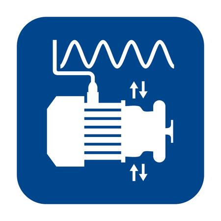 Icona di vettore monocromatico design piatto di analisi delle vibrazioni. Simbolo isolato blu. Vettoriali