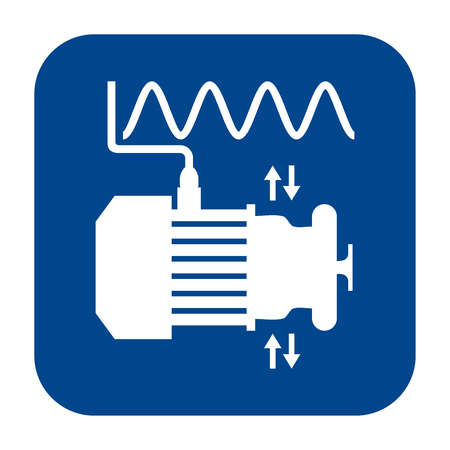 Icono de diseño plano monocromo de vector de análisis de vibraciones. Símbolo aislado azul. Ilustración de vector