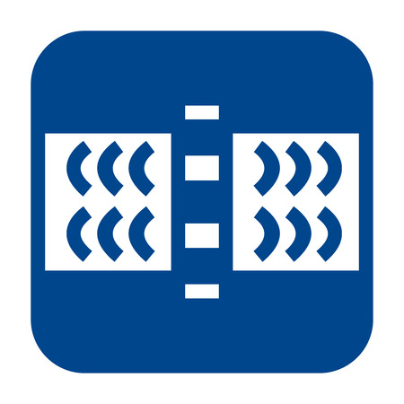 Vector monochrome flat design icon of  guided wave testing.  Blue isolated pipeline inspections logo.