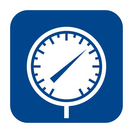 Icône du design plat monochrome de vecteur de manomètre. Logo isolé bleu.
