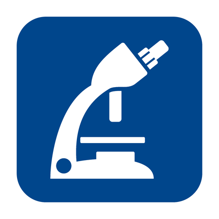 Vector monochrome flat design icon of optical microscope.  Blue isolated logo.