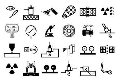 Set of vector monochrome icons of non destructive testing methods and techniques