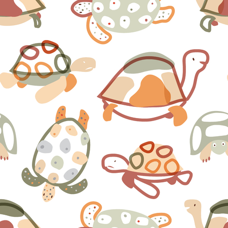 Baby seamless pattern with turtles in scandinavian style. Pastel colors. Vector background for fabric, textile, apparel, wallpaper, wrapping. Stock Illustratie