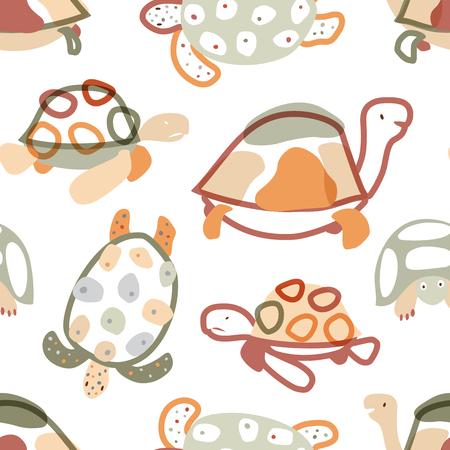 Modèle sans couture de bébé avec des tortues dans un style scandinave. Couleurs pastel. Fond de vecteur pour tissu, textile, habillement, papier peint, emballage.