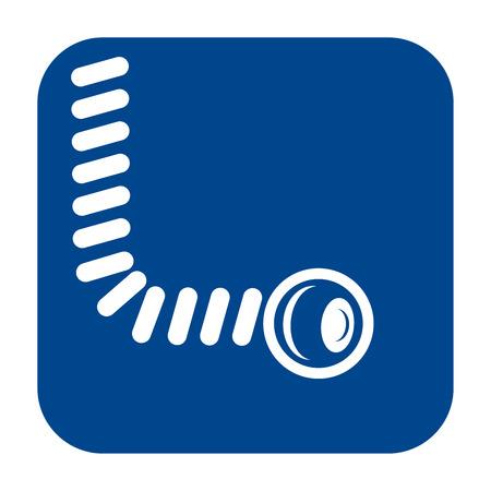 Vector monochrome flat design icon of  endoscopy.  Blue isolated symbol. Illustration