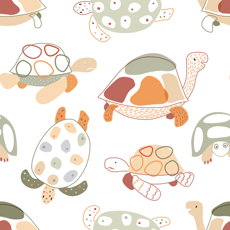 Baby seamless pattern with turtles in scandinavian style. Pastel colors. Vector background for fabric, textile, apparel, wallpaper, wrapping.