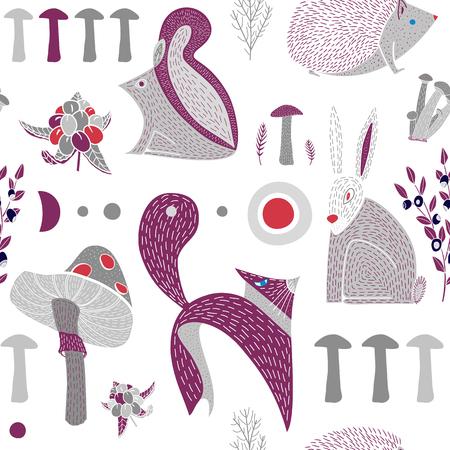 Modèle sans couture avec de mignons animaux des bois dessinés à la main, des champignons et des baies. Toile de fond scandinave pour tissu, textile, habillement, emballage. Illustration vectorielle avec renard, hérisson, écureuil, lièvre.