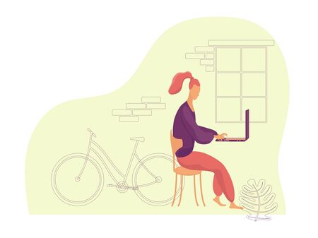 Side view of a young woman sitting on a chair and working on a laptop with a bicycle by the window in the background. Color vector flat illustration with purple linear elements.