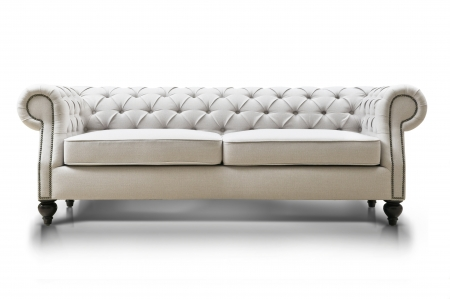 white Luxurious sofa isolated on white background, front view