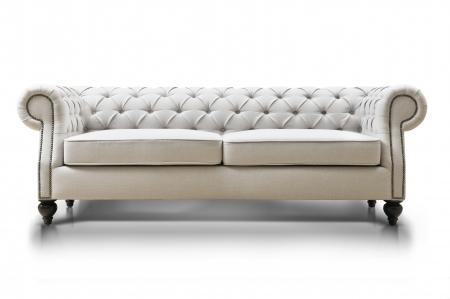 tela blanca: sof� blanco lujoso aislado sobre fondo blanco, vista frontal