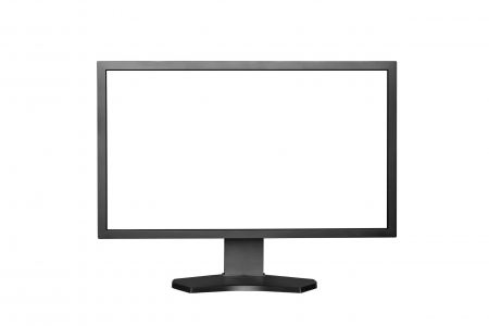 visual screen: Computer Monitor with blank white screen  Isolated on white background