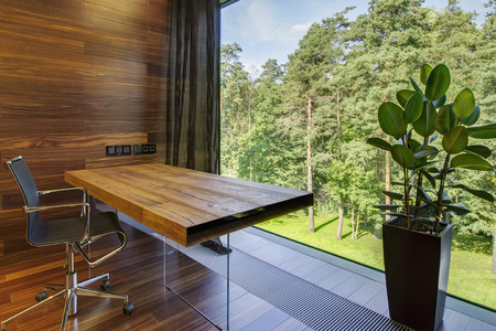 firm: Modern workplace with panoramic window in luxury home