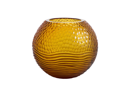 fluted: Round, fluted, orange glass vase isolated on white background
