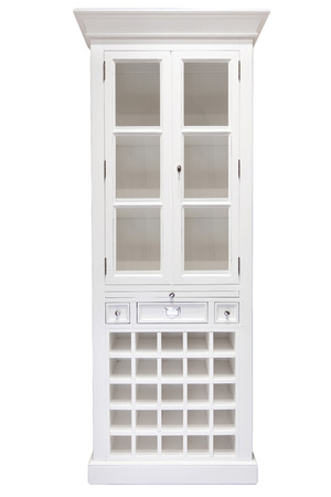 White cupboard with glass doors. Taken on a clean white background