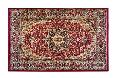 Red rug with oriental ornaments isolated on white background