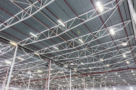 cieling: lamps with diode lighting in a modern warehouse