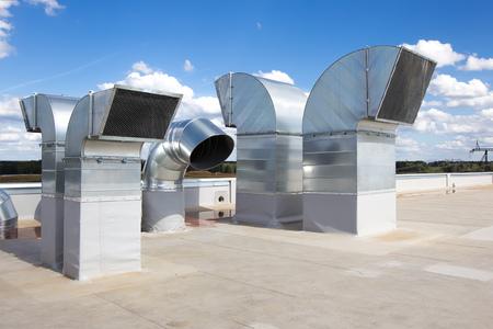 Industriële stalen airconditioning Stockfoto