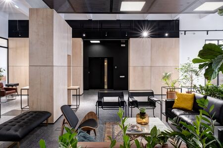 modern open space office interior with furniture