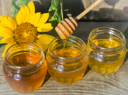 honey in three jars with a wooden spoon and a sunflower flower in the sun Zdjęcie Seryjne