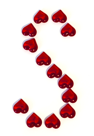 The letter on a white background is made of red hearts. big S