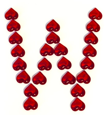 the big letter W on a white background is made of red hearts
