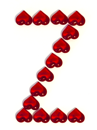 the big letter Z on a white background is made of red hearts