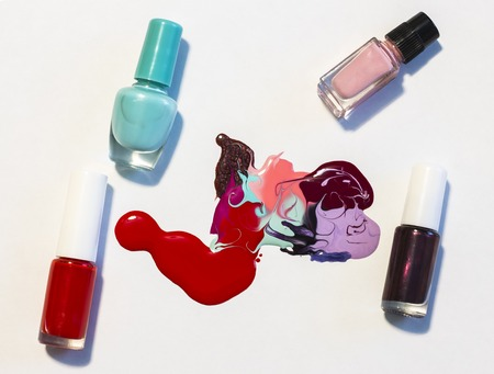 abstract pattern on white background, nail Polish with bottles