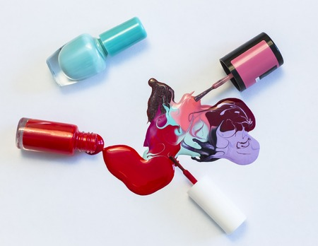 abstract pattern on white background, nail Polish with tassels and bottles 写真素材