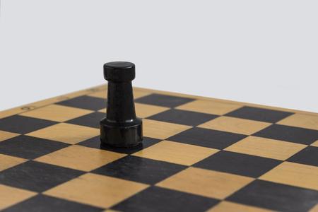 the black rook on the chess Board Foto de archivo