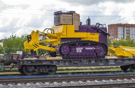 Russia Cheboksary June 15, 2019, the city station with a freight train loaded with tractors Chuvash production