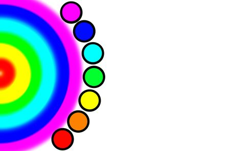 background of seven colors of the rainbow smoothly passing into each other and the seven chakras of man.