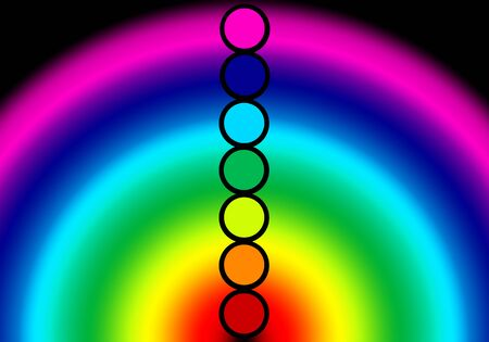 the seven colors of chakras , colors and energy of the human aura as a rainbow. Reklamní fotografie - 133846318