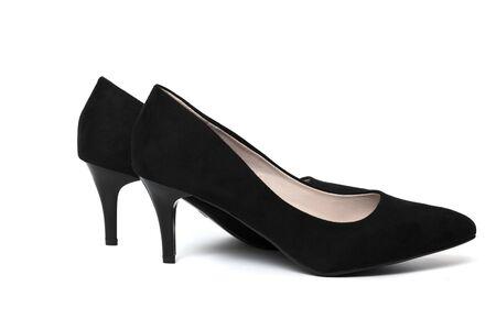 Stylish black women shoes on white background Imagens - 135478072
